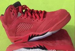 "Detailed Images Of The ""Red Suede"" Air Jordan 5 Surface"