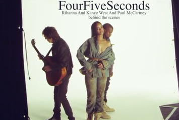 "BTS Of Rihanna, Kanye West & Paul McCartney's ""FourFiveSeconds"" Video"