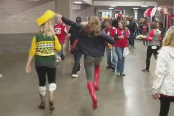 This Falcons Fan Spent All Game Picking Off Packers Fans' Cheeseheads