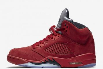 """Red Suede"" Air Jordan 5s Scheduled To Release This Week"