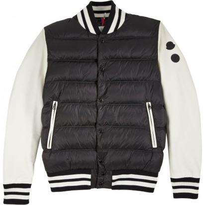 Moncler Leather Sleeve Puffer Varsity Jacket- $2,295