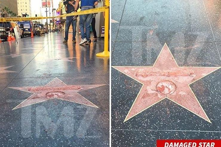 Donald Trump Hollywood Walk Star destroyed